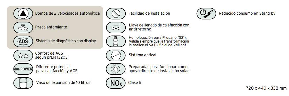 Especificaciones Caldera gas natural VAILLANT ecoTEC pro 236 23kw mixta