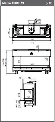 Medidas Chimenea Gas Natural DRU Metro 100XT 3 caras
