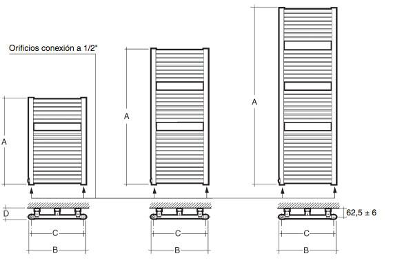 radiador toallero acero baxi cl 50 ancho 1800mm