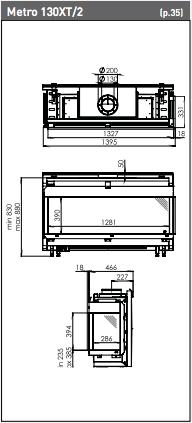 Medidas Chimenea Gas Natural DRU Metro 130 XT 2 caras