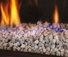 Chimeneas a gas natural decoración fuego guijarros Stenen-grijs