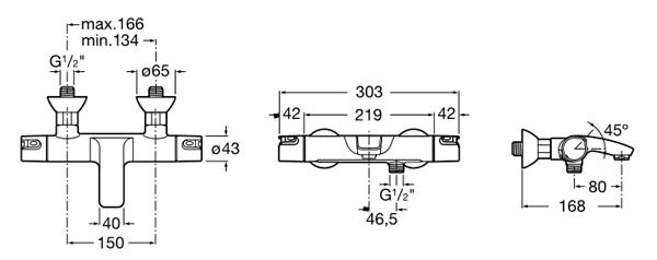medidas Grifo termostático ROCA T-500