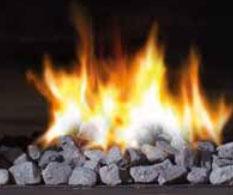 Chimeneas a gas natural decoración fuego guijarros grises