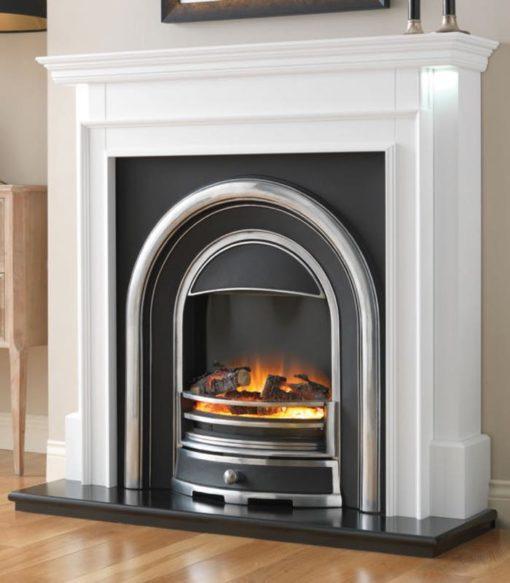 Chimenea FLAMERITE FIRES AUBADE pie suelo tradicional con TENNYSON CAST 750