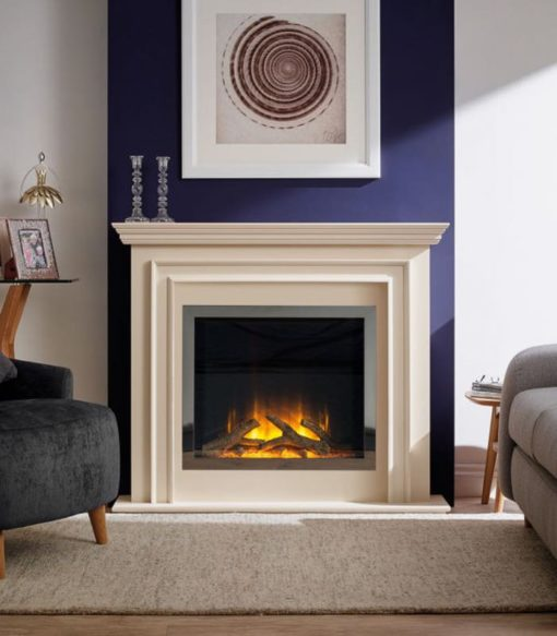 Chimenea FLAMERITE FIRES PRINCETON pie suelo ivory cream 750W